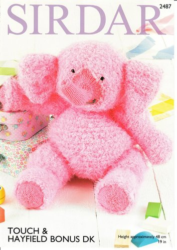 Sirdar 2487 Knitting Pattern Elephant Toy in Sirdar Touch and Hayfield Bonus DK
