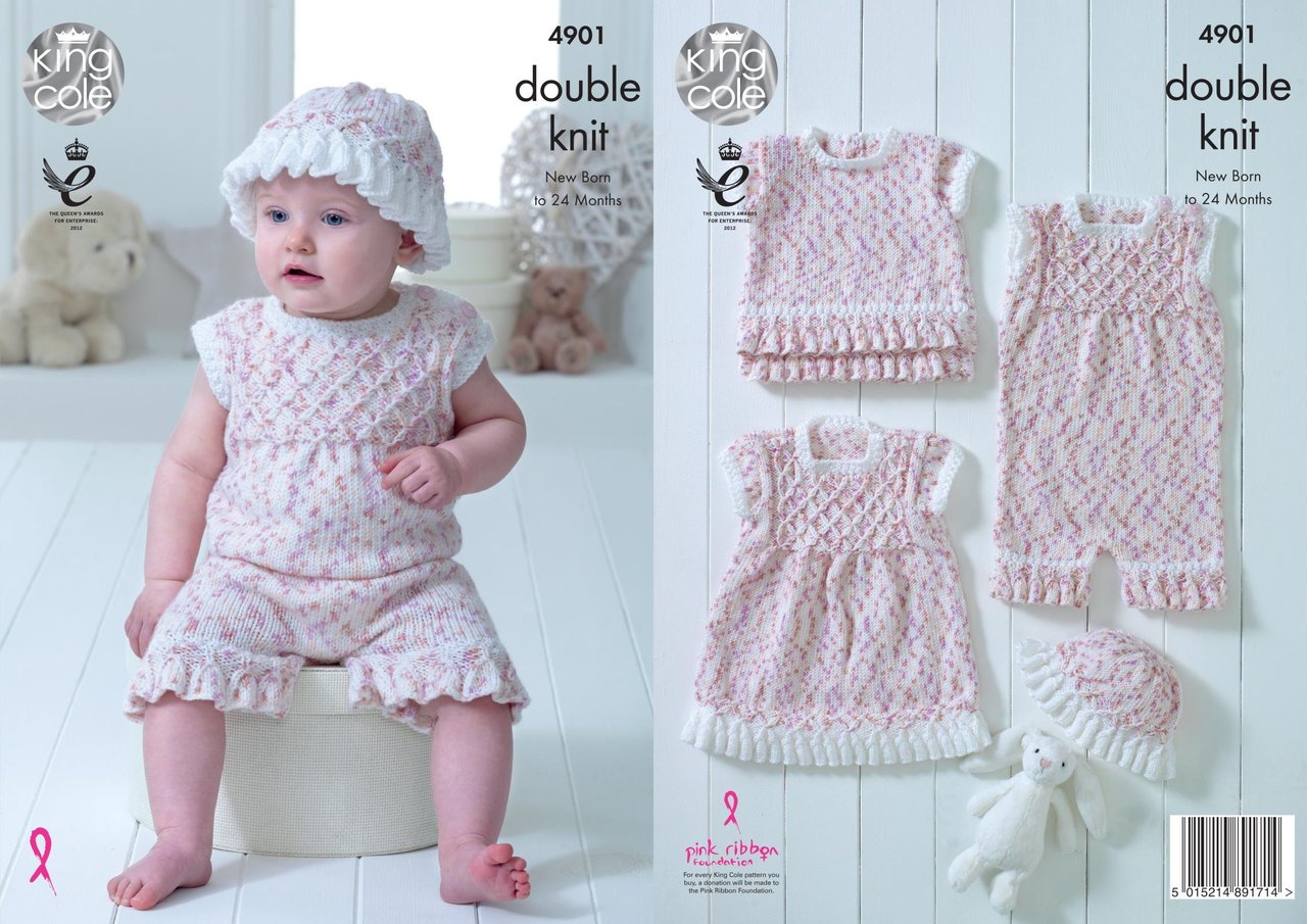 dbaa2ed37 King Cole 4901 Knitting Pattern Baby Set Dress Top Playsuit and Hat in  Cherish Dash DK