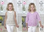 King Cole 5038 Knitting Pattern Girls Raglan Cardigan and Top in King Cole Calypso DK