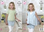 King Cole 5039 Knitting Pattern Girls Top and Waistcoat in King Cole Calypso DK