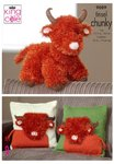 King Cole 9089 Knitting Pattern Highland Cow Toy & Cushion Covers in King Cole Tinsel Chunky