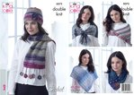 King Cole 5072 Crochet Pattern Womens Poncho Wraps Hat Shawl & Neck Warmer in King Cole Shine DK