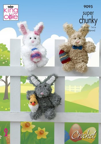 King Cole 9095 Crochet Pattern Easter Bunny Rabbit Toy in King Cole Tufty & Big Value Super Chunky