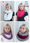 King Cole 5201 Knitting Pattern Easy Knit Cowls in King Cole Tufty and Big Value Super Chunky