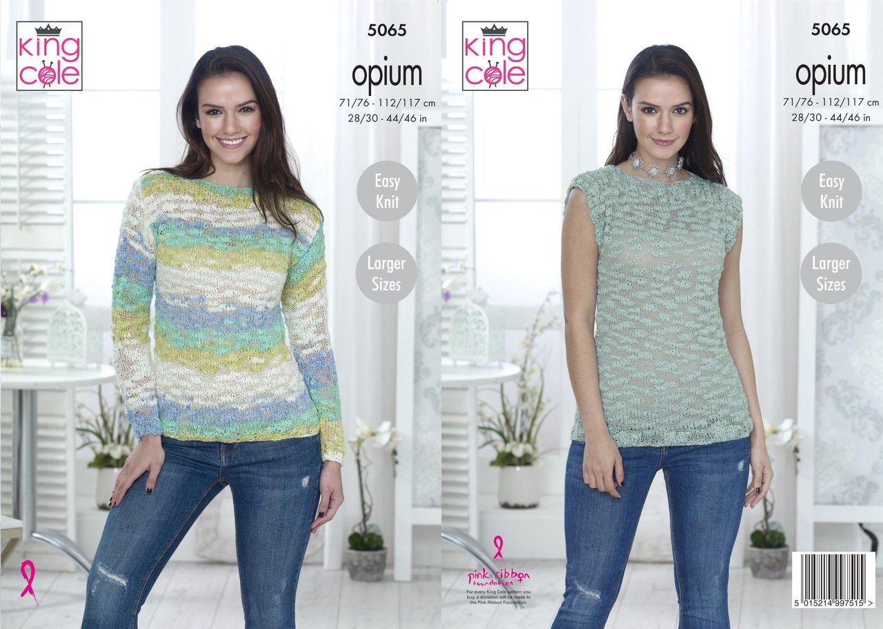 King Cole 5065 Knitting Pattern Womens Easy Knit Sweater And Top In