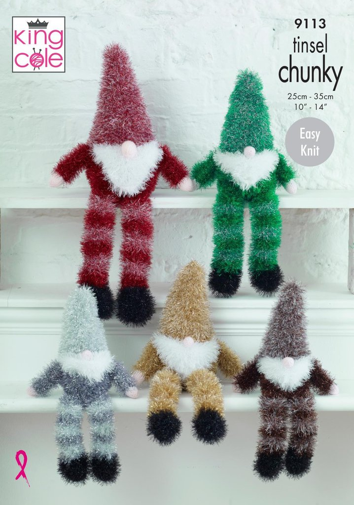 King Cole 9113 Knitting Pattern Tinsel Gnomes In Tinsel