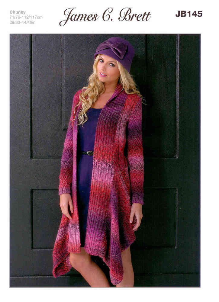 Ladies Waterfall-style Jacket JB145 Knitting Pattern at Athenbys
