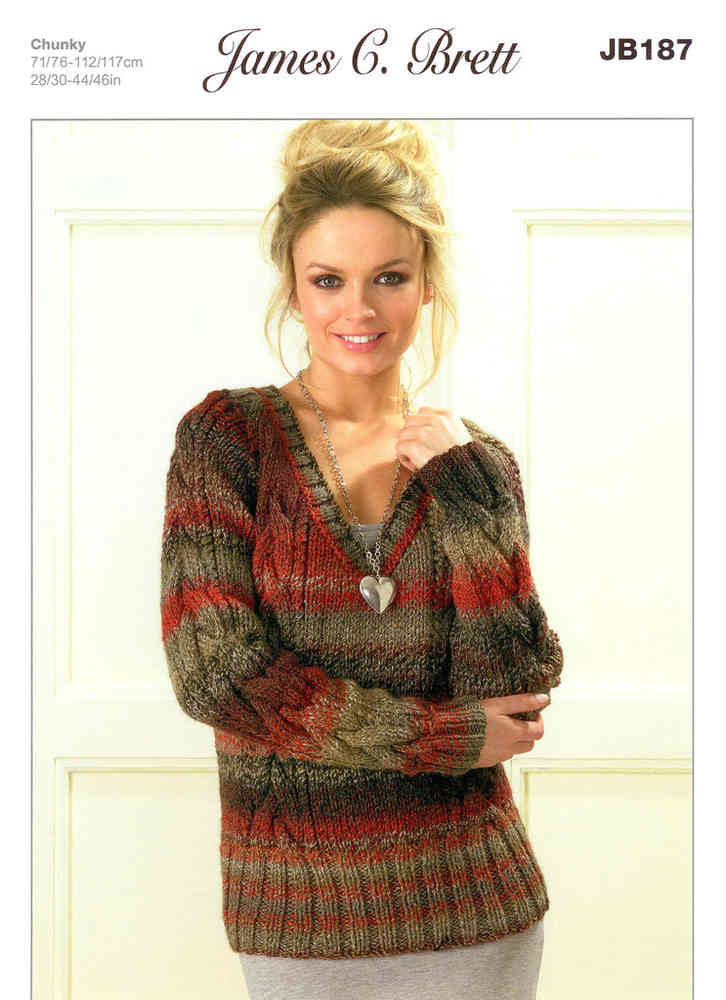 Ladies Cabled V Neck Sweaters Jb187 Knitting Pattern Athenbys
