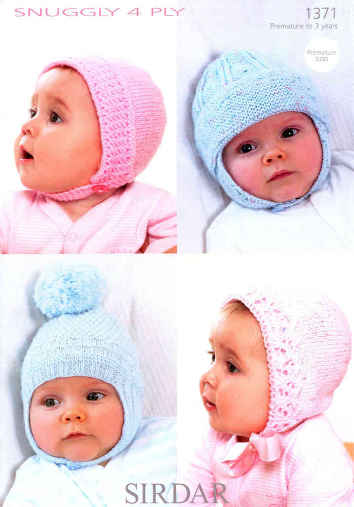 995be92a576c Sirdar Snuggly 4 Ply 1371 Knitting Pattern Bonnets at Athenbys UK