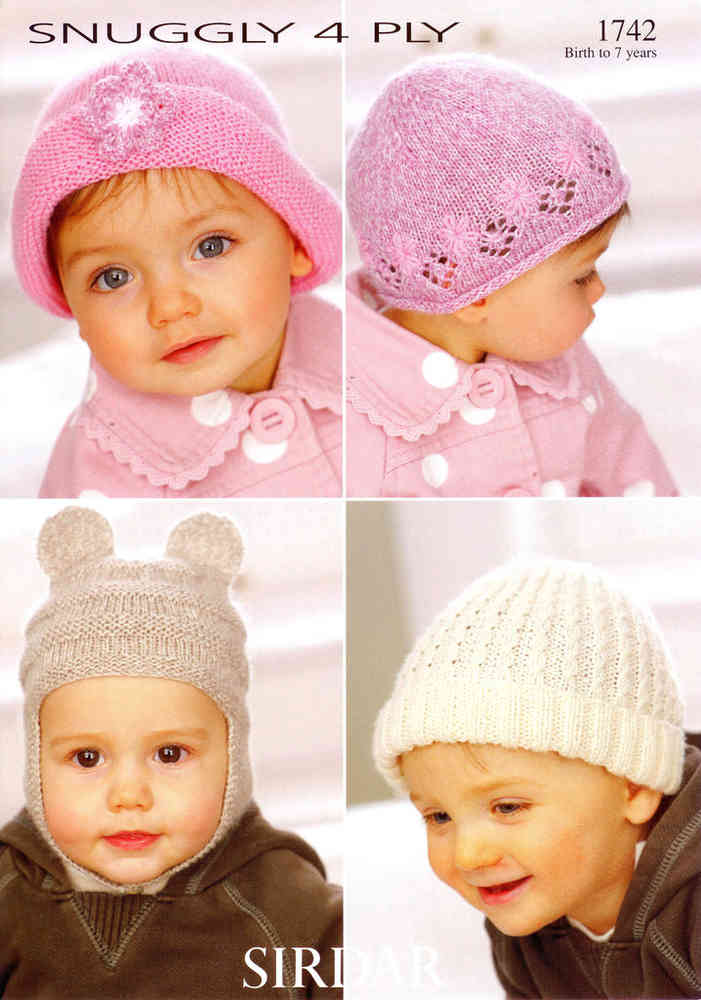 cfb4065c68d1 Sirdar Snuggly 4 Ply 1742 Knitting Pattern Hats at Athenbys UK