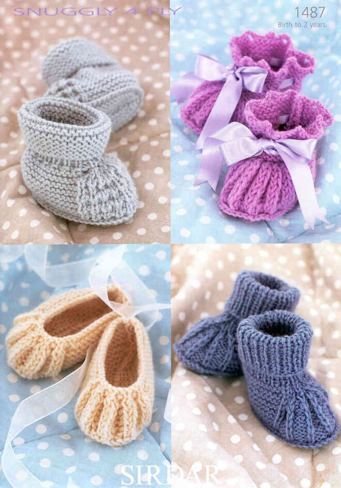 Sirdar Snuggly 4 Ply 1487 Knitting Pattern Shoes And Bootees Uk