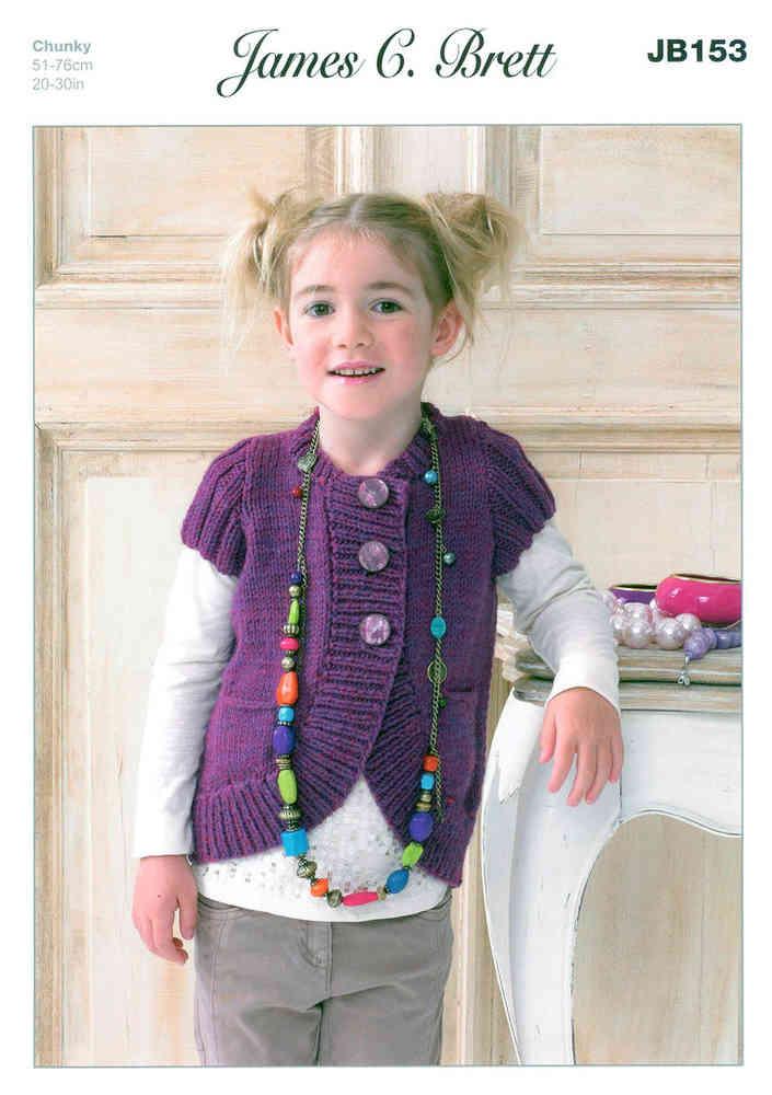 f1fab9f7329e James C Brett JB153 Knitting Pattern Girls Cardigan UK