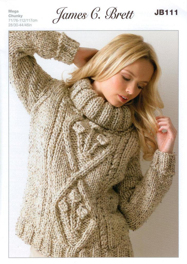 Buy Ladies Sweater JB111 Knitting Pattern Rustic Mega Chunky
