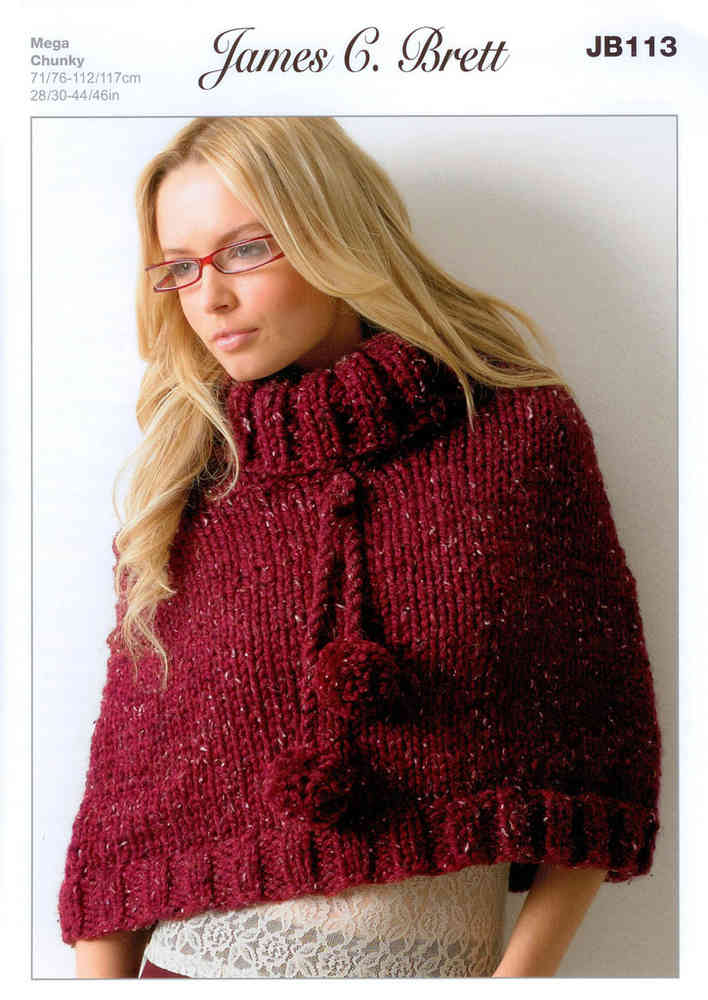 Buy Ladies Poncho Jb113 Knitting Pattern Rustic Mega Chunky