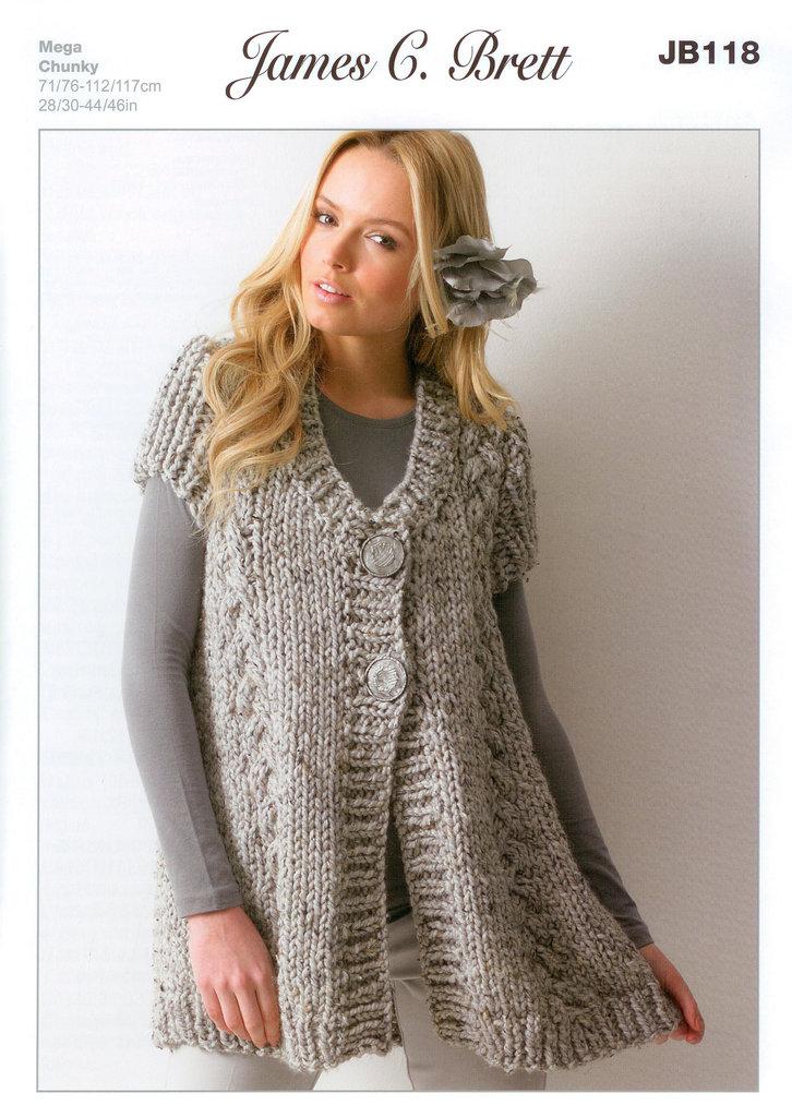 Buy Ladies Waistcoat JB118 Knitting Pattern Rustic Mega Chunky
