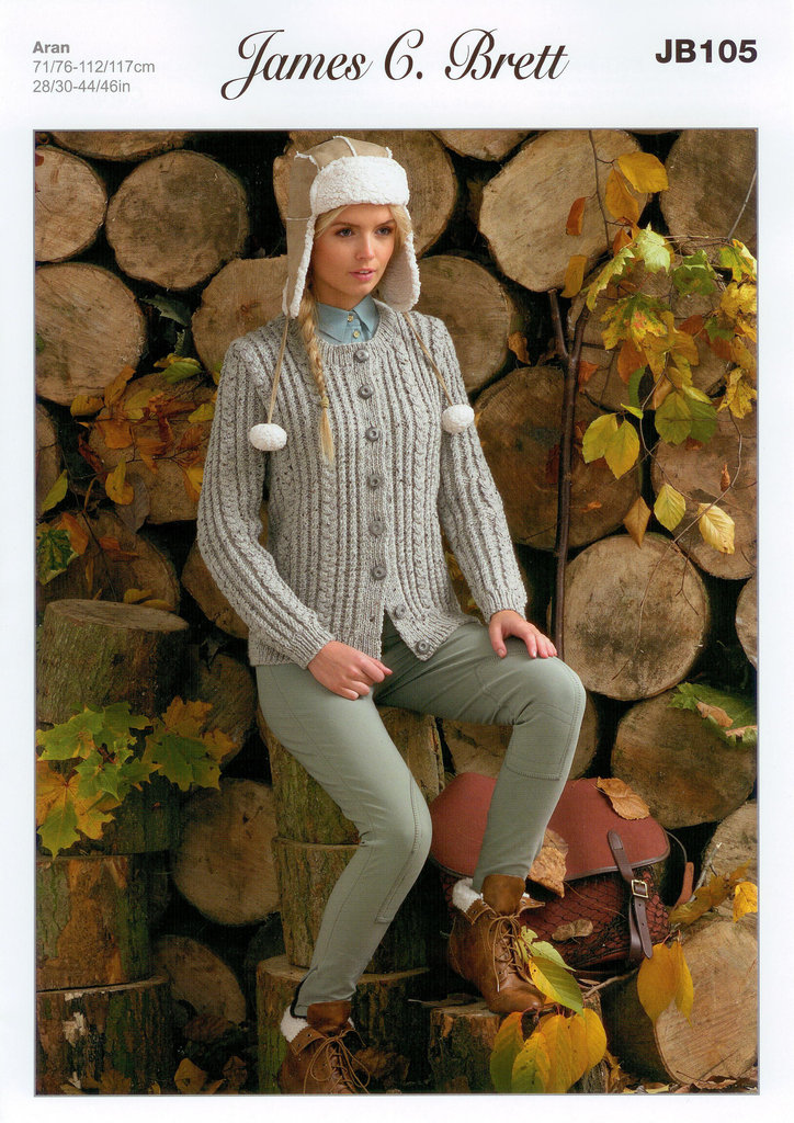 Buy Ladies Cardigan JB105 Knitting Pattern Rustic Aran