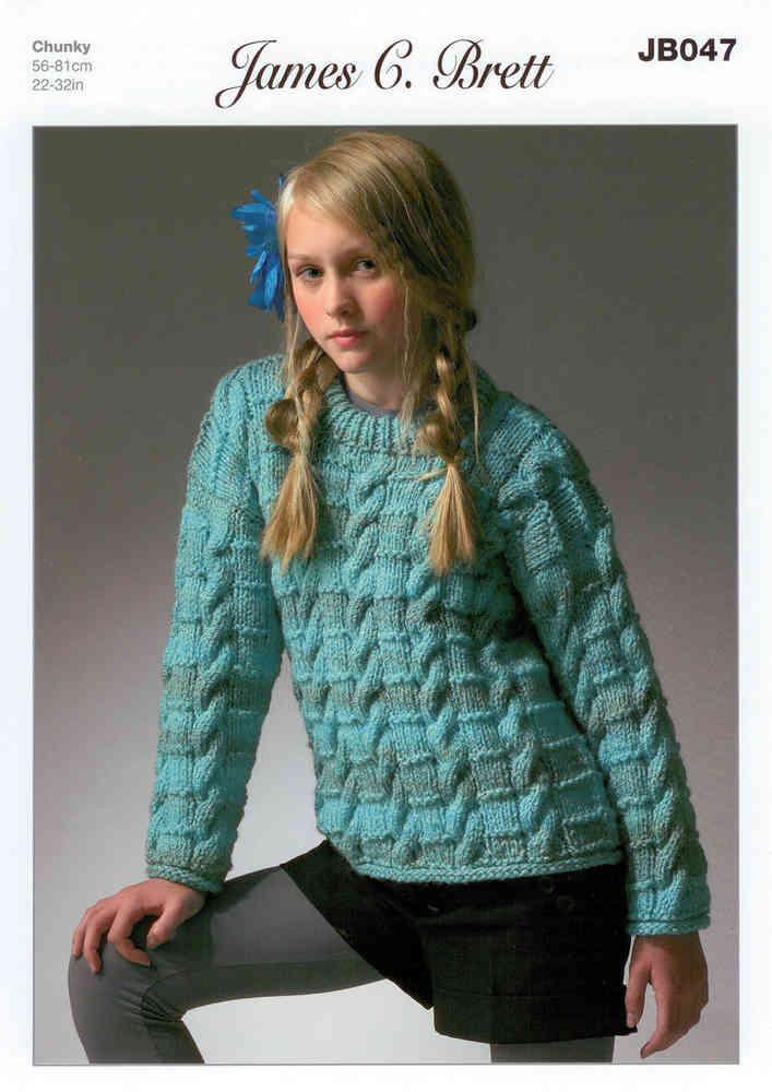 87bfc038d166 James C Brett JB047 Knitting Pattern Girls Sweater Marble Chunky