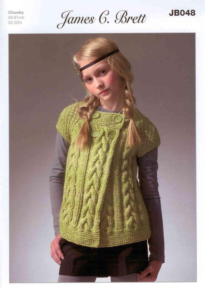 3dbca1a5ea36 James C Brett JB048 Knitting Pattern Girls Cardigan Marble Chunky