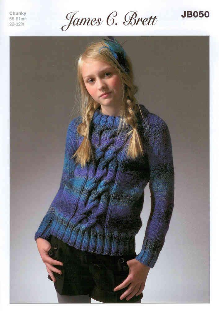 574b813a5d99 James C Brett JB050 Knitting Pattern Girls Sweater Marble Chunky
