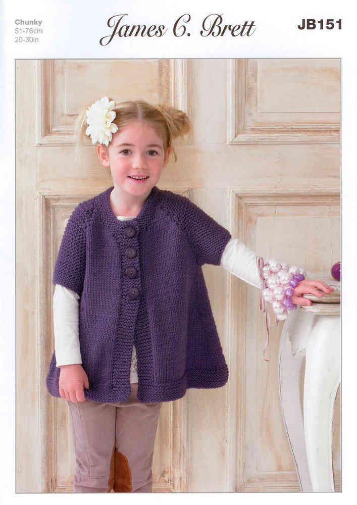 c1ae996826d2 James C Brett JB151 Knitting Pattern Girls Waistcoat Chunky
