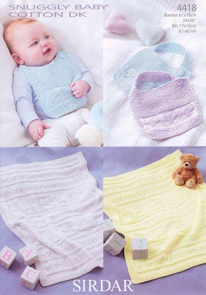 Sirdar Snuggly Baby Cotton Dk 4418 Knitting Pattern Blankets Bibs