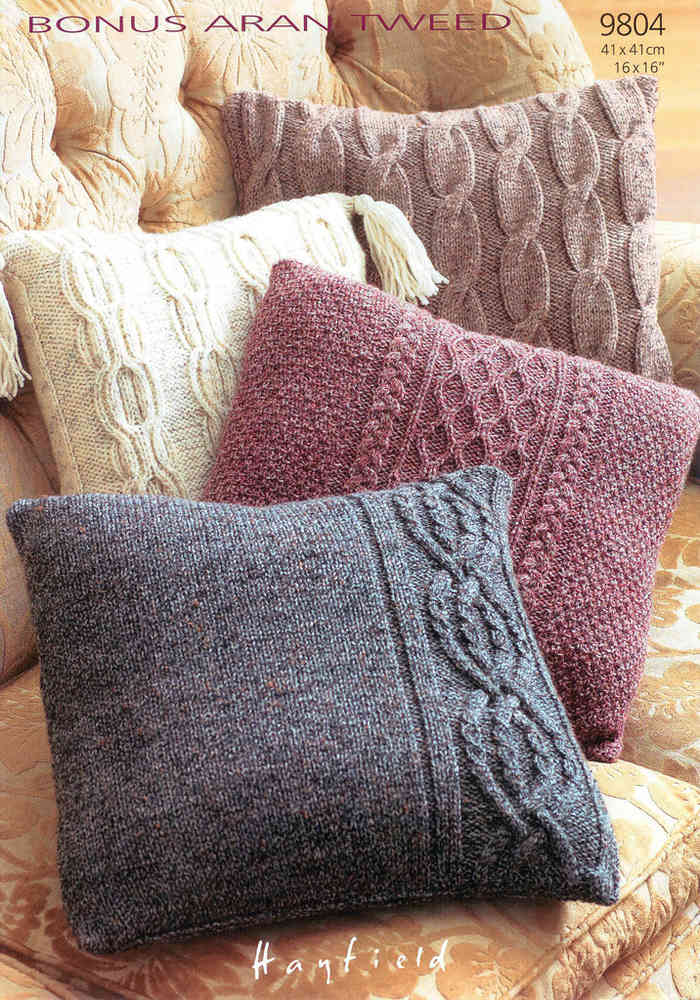Cushion Covers In Hayfield Bonus Aran Tweed 9804 Knitting Pattern