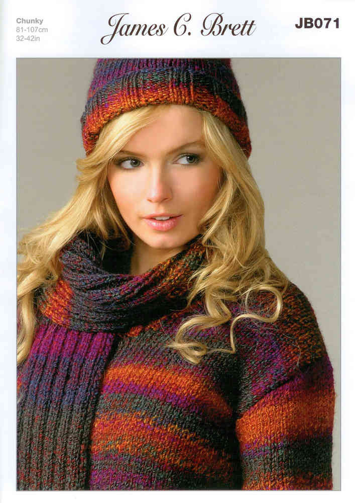 Sweater Hat And Scarf Jb071 Knitting Pattern Marble Chunky Sale