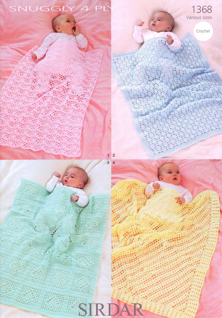 Blankets and Shawls in Sirdar Snuggly 4 Ply 1368 Crochet Pattern