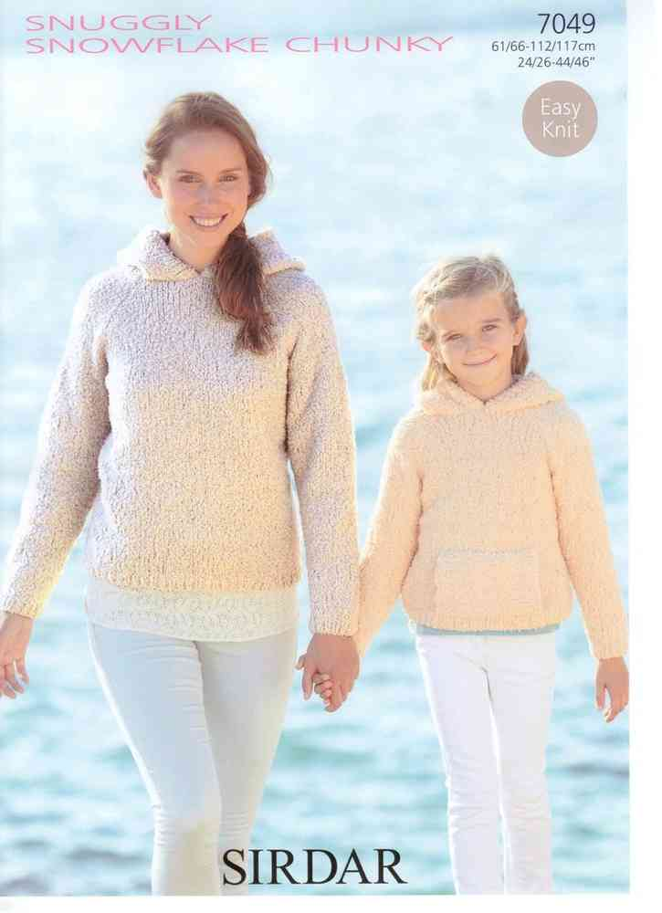 Hooded Sweaters In Sirdar Snuggly Snowflake 7049 Knitting Pattern