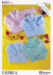 UKHKA 6 Knitting Pattern Baby Cardigans and Sweater in 4 Ply