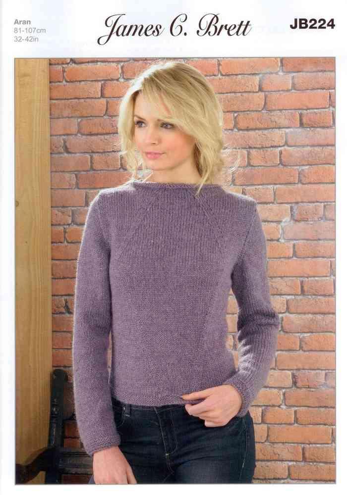 bfefecf3269d9 Ladies Sweater JB224 Knitting Pattern James C Brett Aran on sale