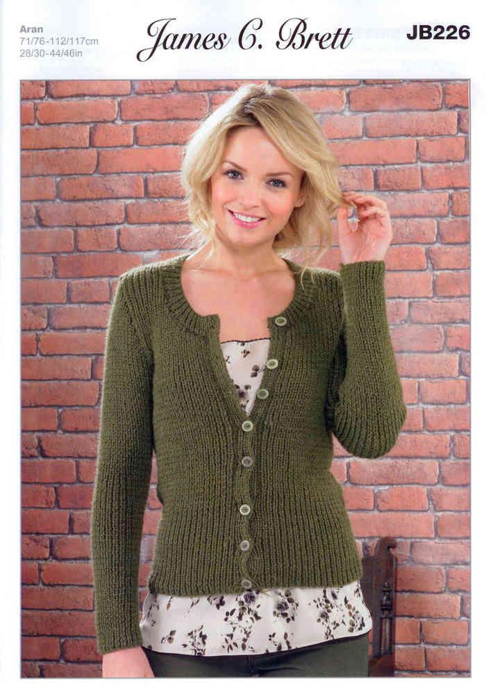 825e7abdbbcd6 Ladies Cardigan JB226 Knitting Pattern James C Brett Aran
