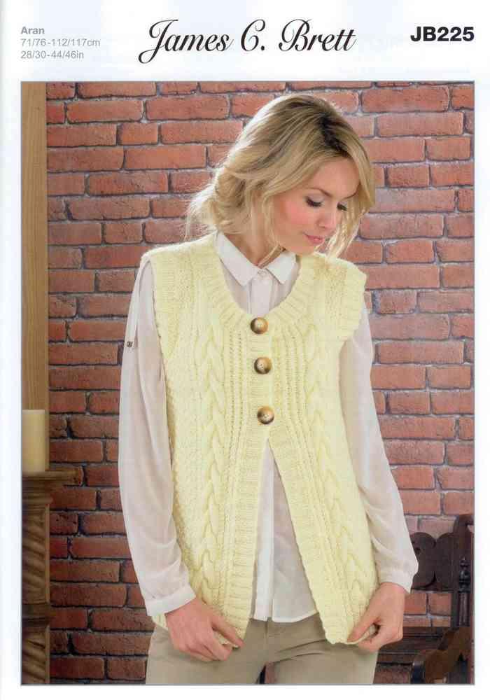 Ladies Waistcoat Jb225 Knitting Pattern James C Brett Aran Sale