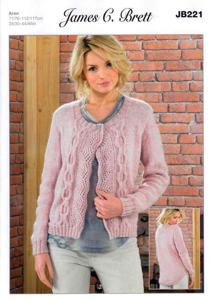 cecba08cf0d91 Ladies Jacket JB221 Knitting Pattern James C Brett Aran Sale