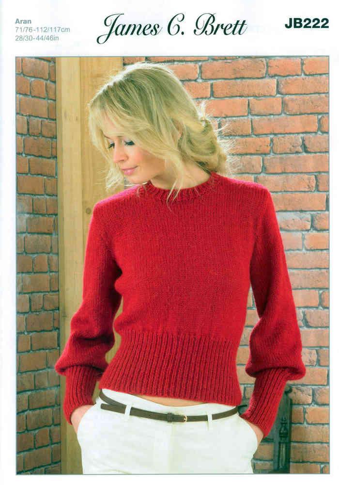 6d9a6db64a645 Ladies Sweater JB222 Knitting Pattern James C Brett Aran Sale