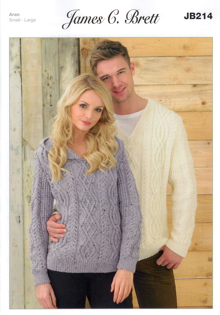 Sweaters Jb214 Knitting Pattern James C Brett Aran Sale