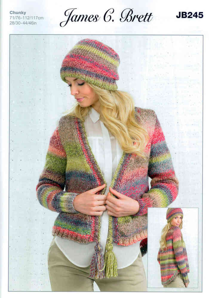 Cardigan and Hat JB245 Knitting Pattern in Marble Chunky on Sale