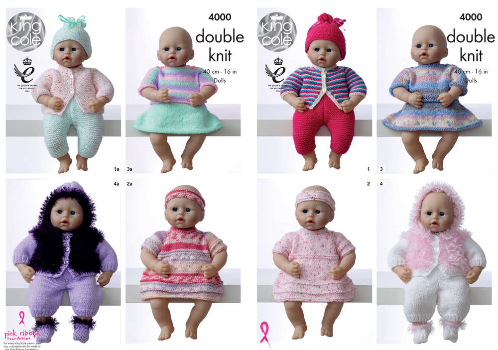 King Cole 4000 Knitting Pattern Dolls Clothes In King Cole Dk Athenbys