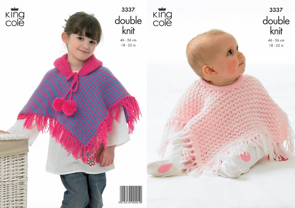 cdf2a22ac King Cole 3337 Knitting Pattern Ponchos in King Cole Comfort DK ...