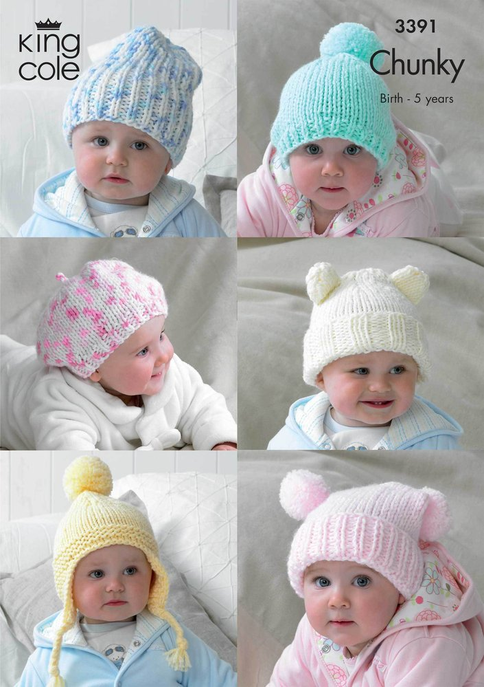 King Cole 3391 Knitting Pattern Childrens Hats In King Cole Comfort