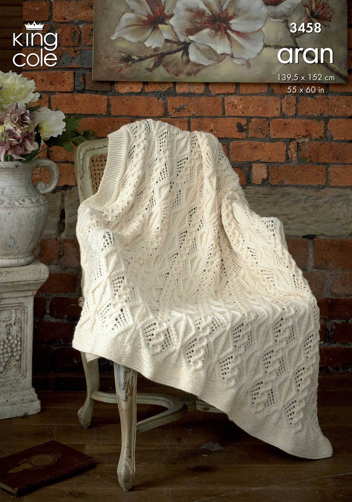 King Cole 3458 Knitting Pattern Afghan In King Cole Merino Blend And