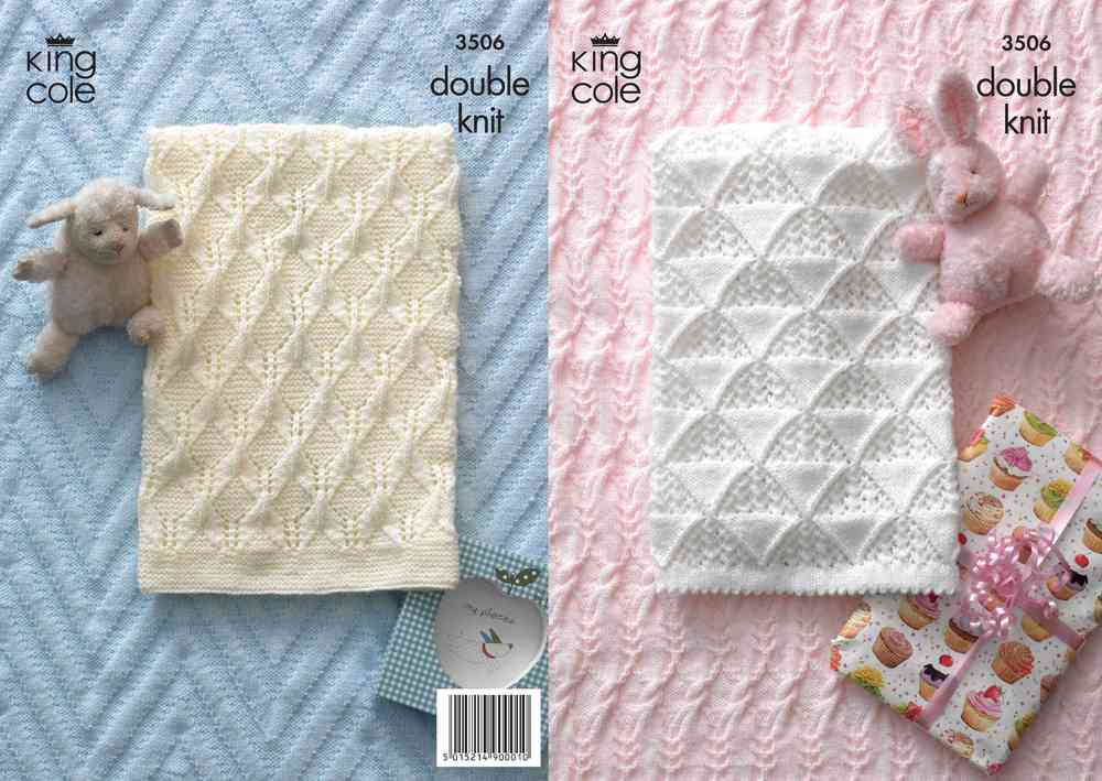 King Cole 3506 Knitting Pattern Baby Blankets in King Cole DK - Athenbys