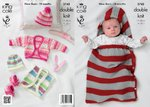 King Cole 3742 Knitting Pattern Boleros, Snuggle Bag, Hat & Bootees in Comfort Baby DK & DK Prints