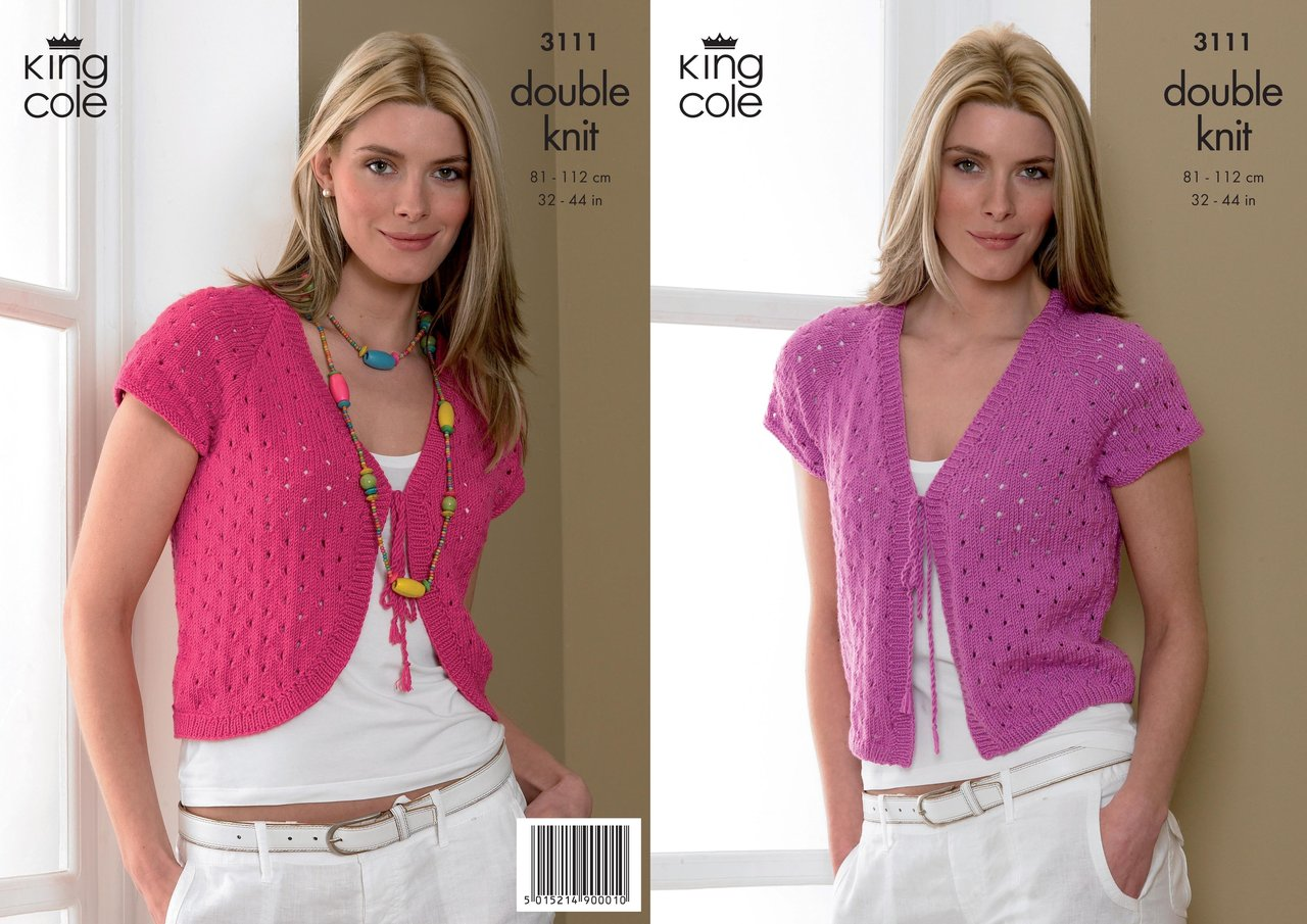 King Cole 3111 Knitting Pattern Womens Bolero & Cardigan in King ...