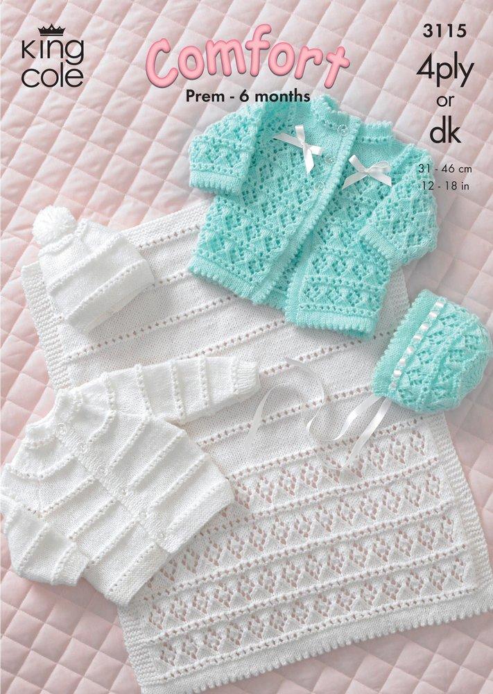 King Cole 3115 Knitting Pattern Coat, Cardigan, Bonnet, Hat & Pram ...