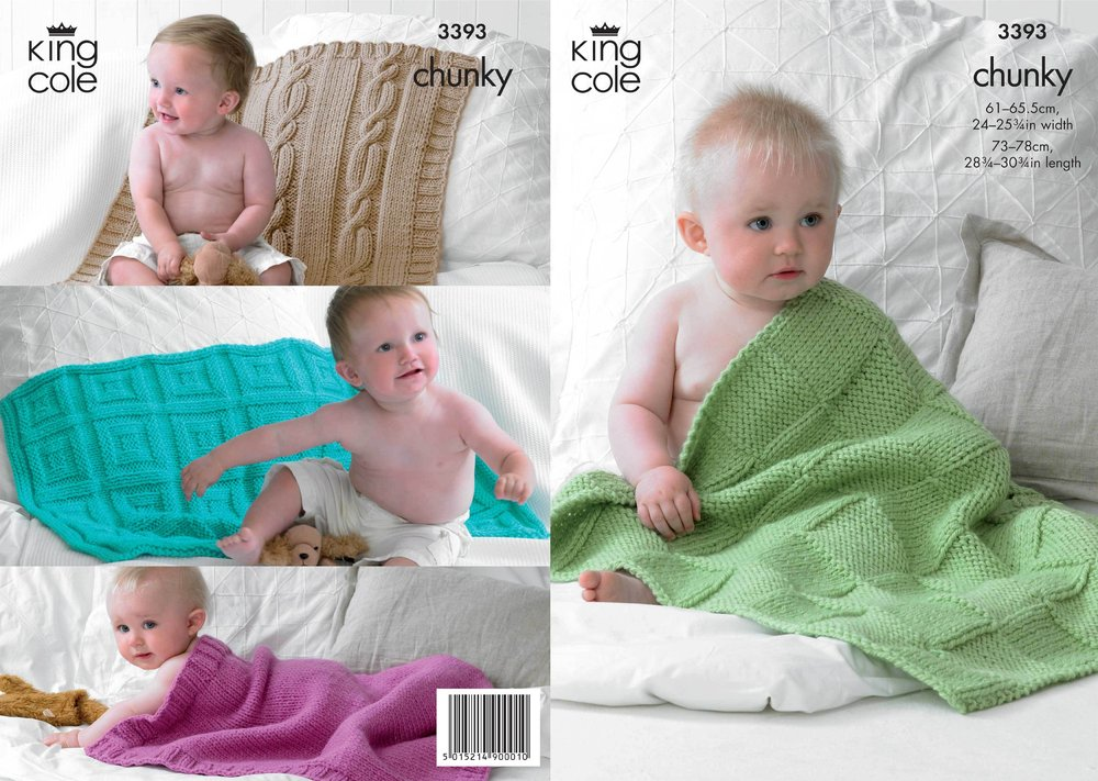 King Cole 3393 Knitting Pattern Babies Blankets In King Cole Comfort