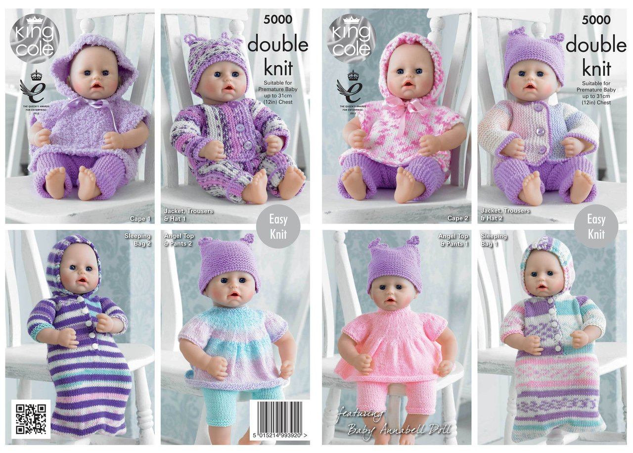 King Cole 5000 Knitting Pattern Dolls Clothes in King Cole DK - Athenbys