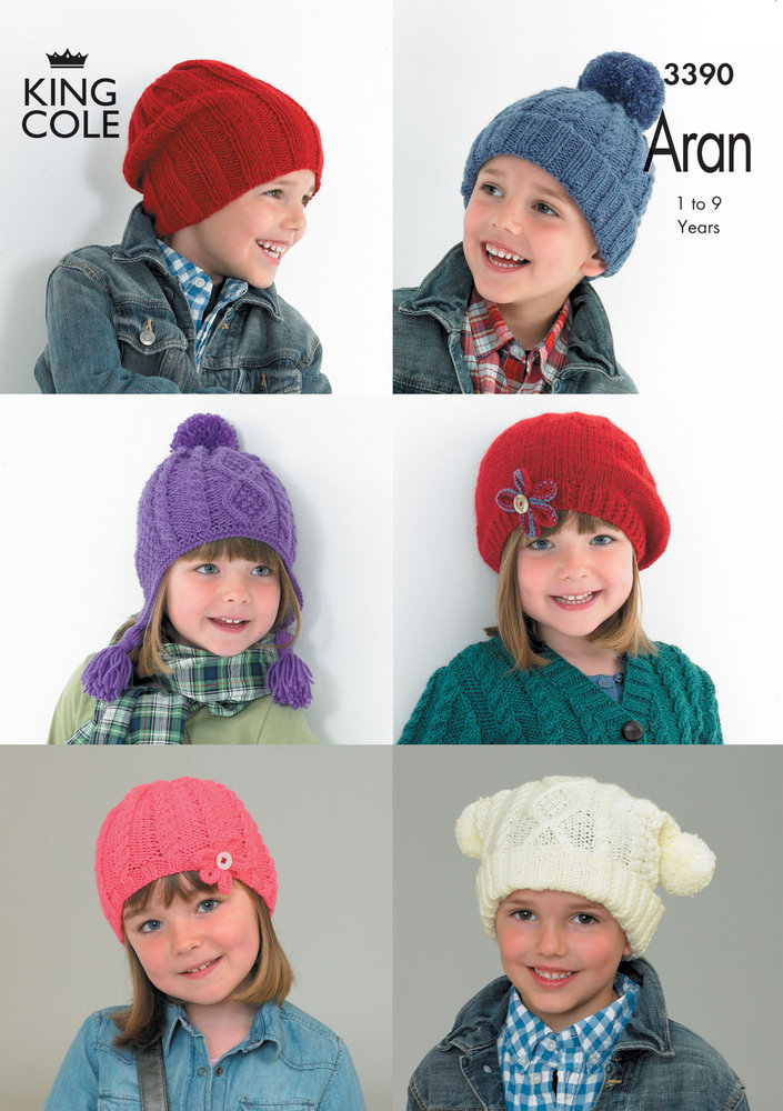 King Cole 3390 Knitting Pattern Childrens Hats In King Cole Comfort