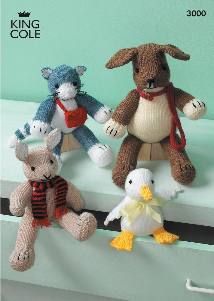 King Cole 3000 Knitting Pattern Rabbit Duck Cat And Dog Toys In
