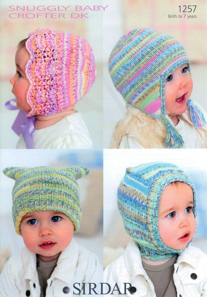 Baby Child Hats In Sirdar Snuggly Baby Crofter Dk 1257